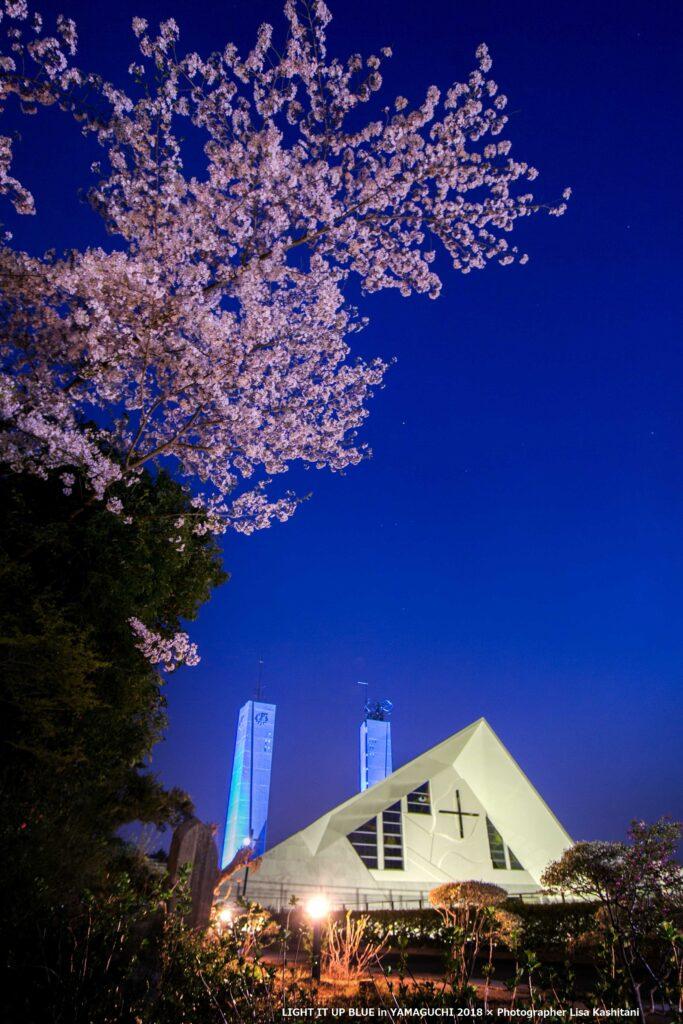 サビエル記念聖堂ブルーライトアップ